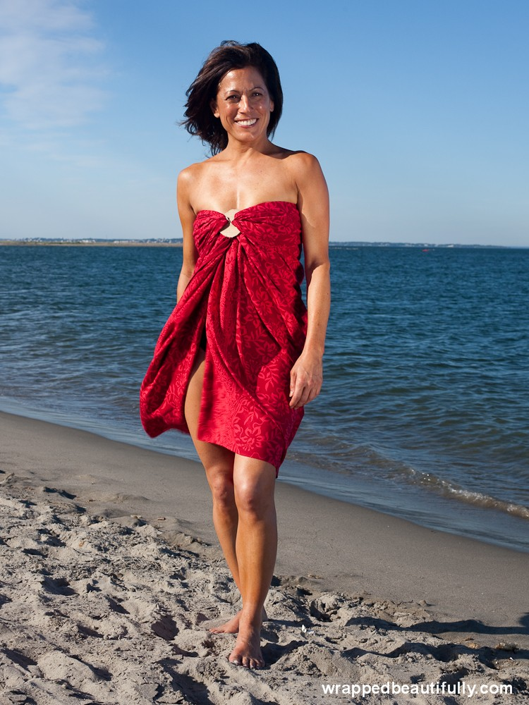 Red sarong- wrapped beautifully